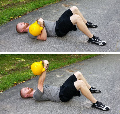 Bent Over Row   With The Kettlebell(s) On The Ground Between Your Feet,  Bend Forward At The Hips And Grab The Kettlebell(s) With Your Arms Locked,  ...