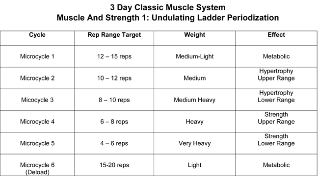 3 Day Clic Muscle Training Cycle Strength And 1 Level