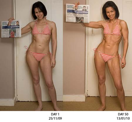 Sarah gained 7.9 pounds of muscle and lost 7 pounds of fat in 50 days.  These results are definitely not typical, but they do show what is possible