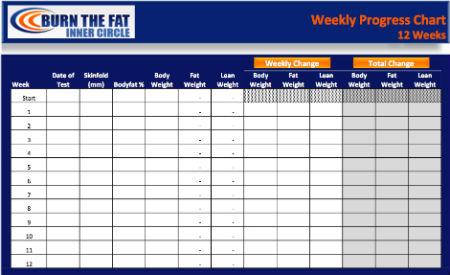 The Burn Fat 12 Week Progress Chart