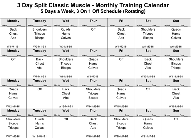The 3-Day Classic Muscle Bodybuilding Workout Phase I